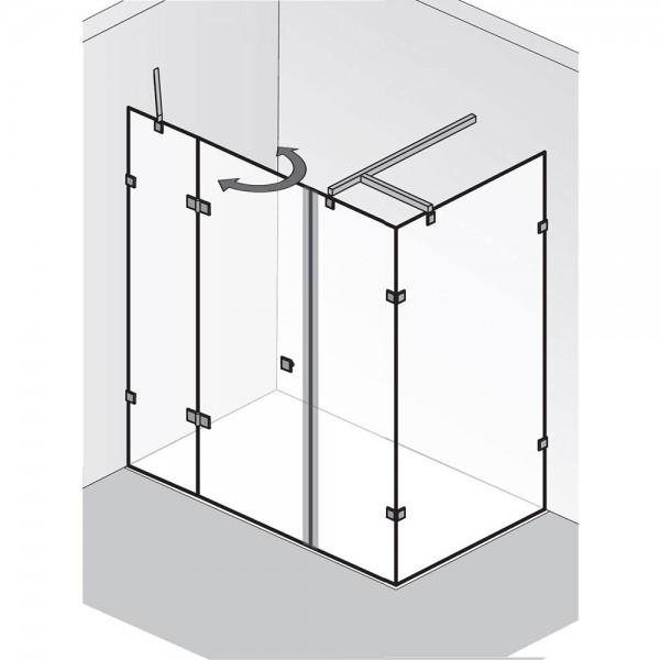 HSK Atelier Pur AP.129 Drehtür pendelbar an 2 Nebenteilen mit Seitenwand