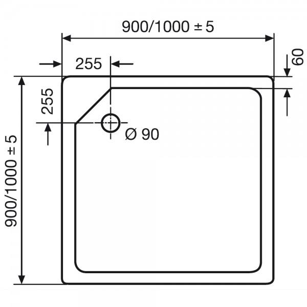 HSK Duschwanne quadratisch, 85090 | Duschtasse Marmor Polymer ... | {Duschwanne einbauen ohne wannenträger 90}