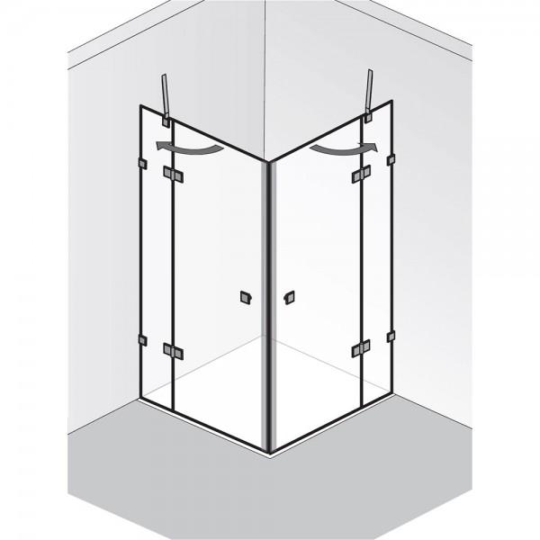 HSK Atelier Pur AP.26 - 2 Drehtüren an 2 Nebenteilen