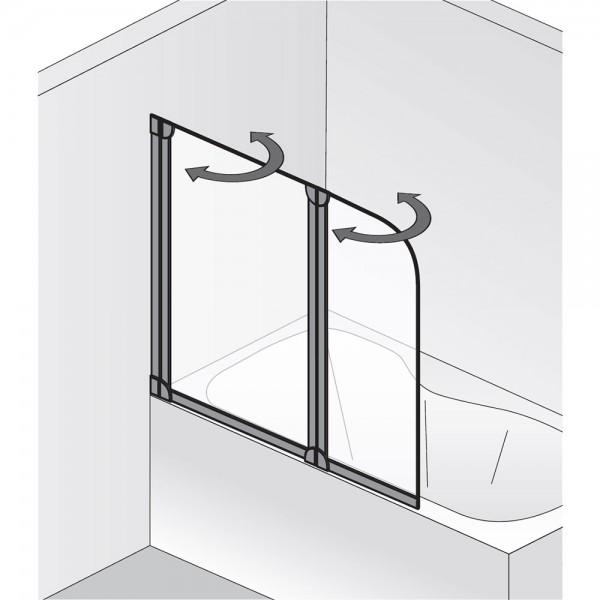 hsk badewannenaufsatz favorit 162114 badewannenfaltwand 2 teilig. Black Bedroom Furniture Sets. Home Design Ideas