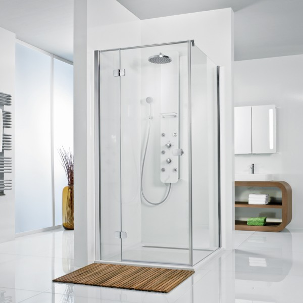HSK Premium Softcube Eck Duschkabine aus Glas, Drehtür mit Seitenwand