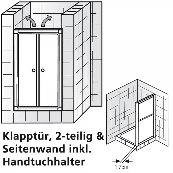 HSK Favorit Klapptür 2-teilig mit Seitenwand Kunstglas