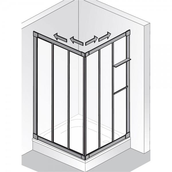 HSK PRIMA Eckeinstieg - Gleittür, 6-teilig - Kunstglas