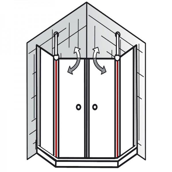 innendichtung et exklusiv f nfeckdusche 4 teilig. Black Bedroom Furniture Sets. Home Design Ideas