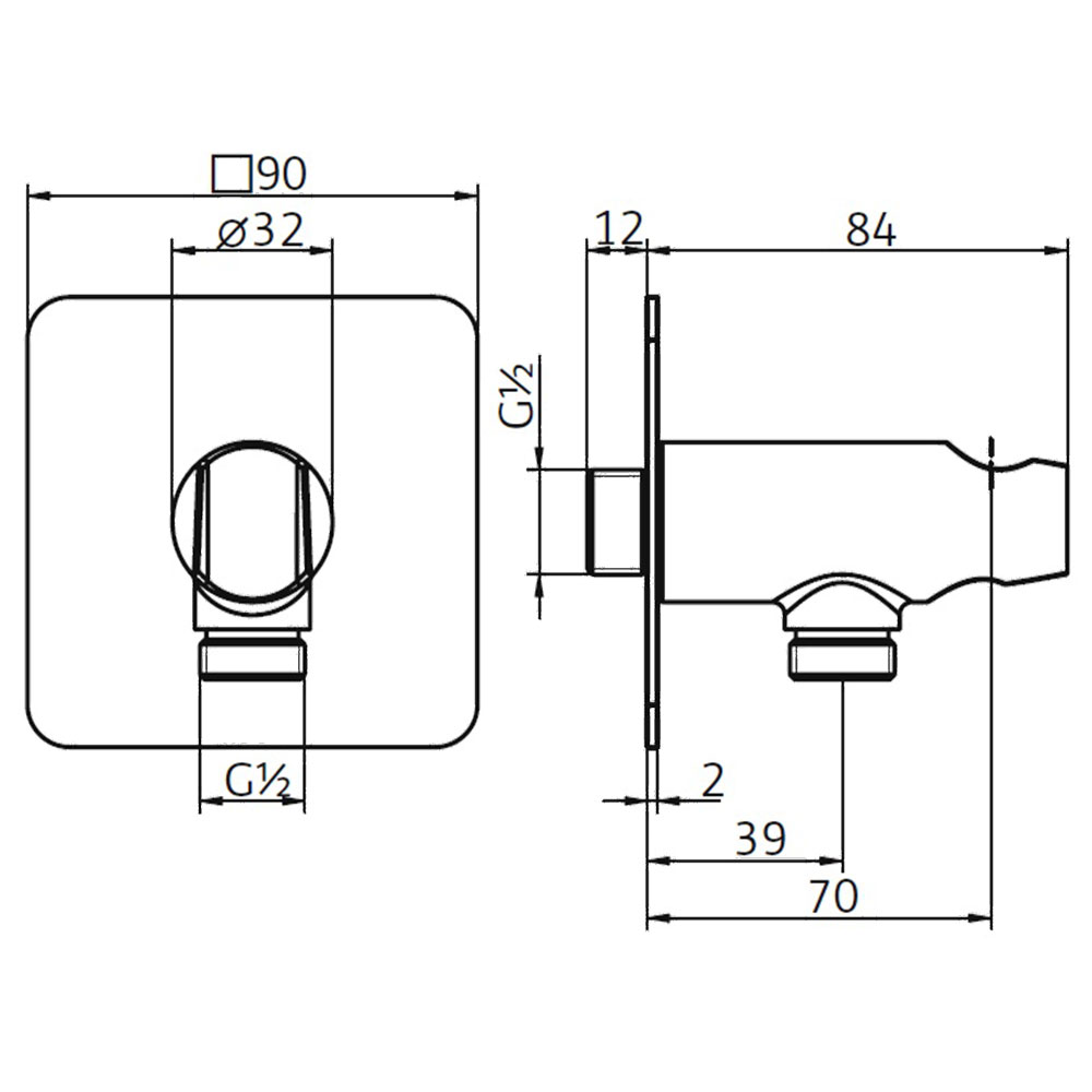 hsk wandanschlussbogen mit handbrausehalter softcube brausehalter wandanschl sse softcube. Black Bedroom Furniture Sets. Home Design Ideas