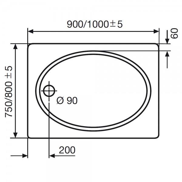 hsk duschwanne rechteckig innen oval 520075 duschtasse acryl super flach. Black Bedroom Furniture Sets. Home Design Ideas