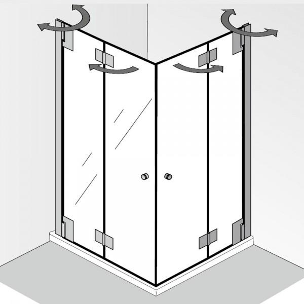 HSK K2P Eckeinstieg 4-teilig mit Drehfalttüren